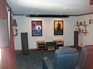 Home theater screen up